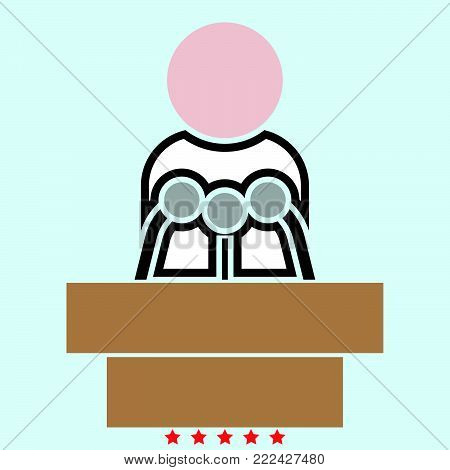 Man speaking from the rostrum icon Illustration color fill simple style