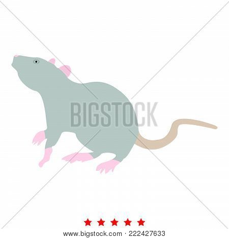 Rat icon Illustration color fill simple style