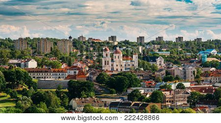 Vilnius, Lithuania. Aerial View Of The Bastion Of Vilnius City Wall And Orthodox Church Of The Holy Spirit In Summer Day. Vilnius Old Town Is Part Of UNESCO World Heritage. Russian Orthodox Church