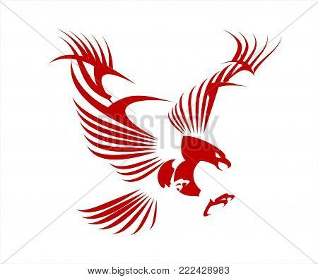 Stylized Great Red Eagle. Eagle spread out it's wings.