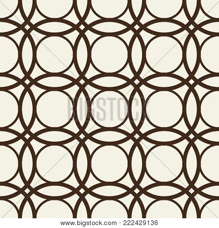 Abstract monochrome seamless pattern with interweaving repeating circles in kaleidoscope vintage style vector illustration