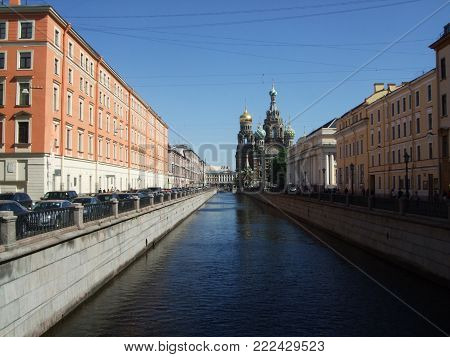 Saint Peterburg, Russia - JUNE 12, 2013: Canal Church of the Saviour on Spilled Blood Saint Peterburg Russia