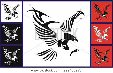 Flying Eagles with the Stylized Wings, spread out its feather