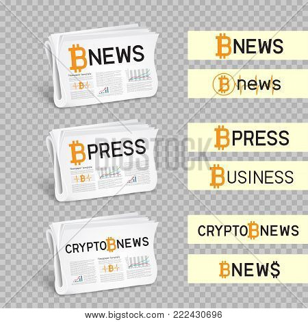 Crypto newspapers bitcoin blockchain news logo set collection. Mining internet currency press. Financial business electronic currency. Modern and future internet money symbol