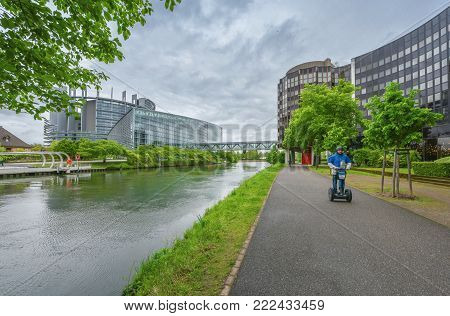 Strasbourg, France - May 2017: View on the buildings of European council and European Parliament