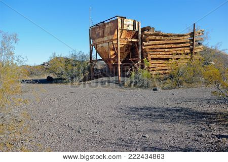 The old hopper of a mining operation known as the Ambrosia Mine located just south of Aguila AZ. This old mine once processed Manganese back in the 1950s but then closed in the 1960s.
