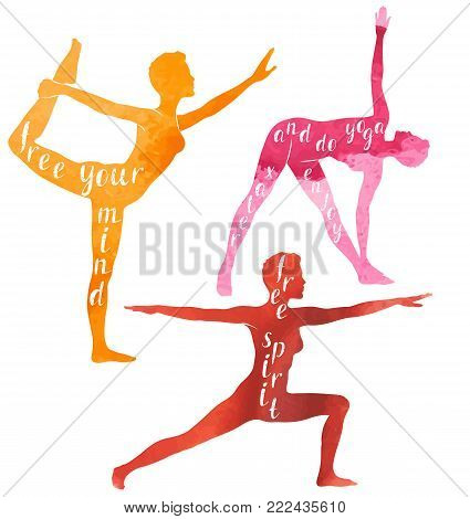 Watercolor Silhouettes of woman doing yoga or pilates exercise, Yoga motivation, vector illustration