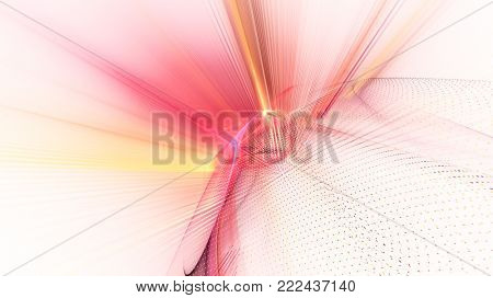 Abstract red and white background. Fractal graphics series. Dynamic composition of dots, traces and beams.