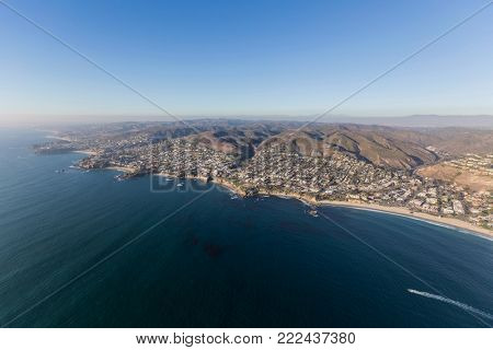 Aerial view of Laguna Beach on the Southern California pacific ocean coast.