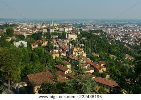 Aerial view of Bergamo, Italy in a summer day