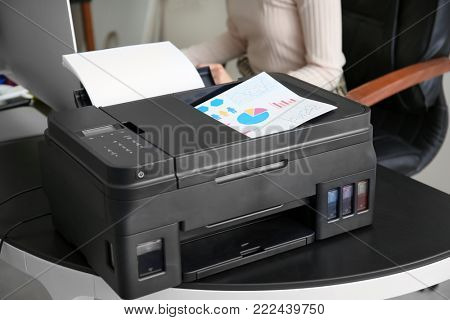 Printing document in office, closeup