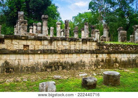 Columns of the Thousand Warriors in Chichen Itza, Mexico