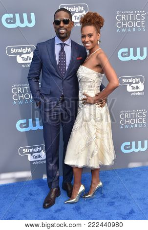 LOS ANGELES - JAN 11:  Sterling K. Brown and Ryan Michelle Bathe arrives for the 23rd Annual Critics' Choice Awards on January 11, 2018 in Santa Monica, CA