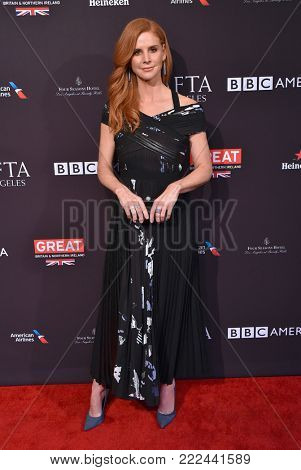 LOS ANGELES - JAN 06:  Sarah Rafferty arrives for the BAFTA Tea Los Angeles on January 06, 2018 in Beverly Hills, CA