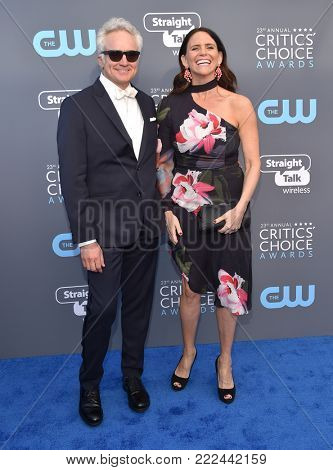 LOS ANGELES - JAN 11:  Bradley Whitford and Amy Landecker arrives for the 23rd Annual Critics' Choice Awards on January 11, 2018 in Santa Monica, CA