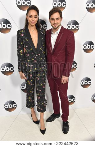LOS ANGELES - JAN 08:  Andrew J. West and Amber Stevens West arrives for the ABC Winter 2018 TCA Event on January 08, 2018 in Pasadena, CA