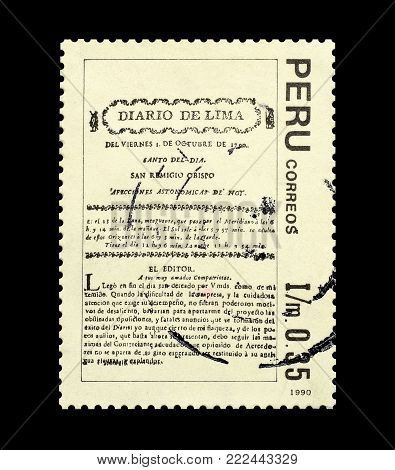 PERU - CIRCA 1990 : Cancelled postage stamp printed by Peru, that shows Newspaper Diario de Lima.