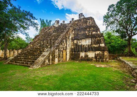 The Osario staircase in Chichen Itza, Mexico
