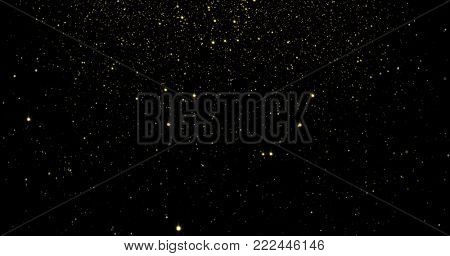 Abstract gold particles and sparkling stars or shimmering light effect background. Light flare shine or glare overlay effect for luxury premium product design or Christmas holiday backdrop