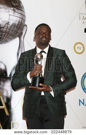 LOS ANGELES - JAN 15:  Daniel Kaluuya at the 49th NAACP Image Awards - Press Room at Pasadena Civic Center on January 15, 2018 in Pasadena, CA