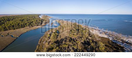 Birds eye view of coastal forest and Atlantic Ocean in South Carolina, USA