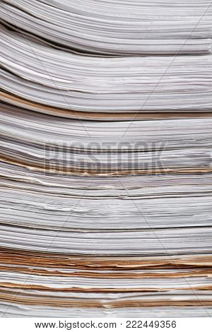 Stack of old paper documents in archive, closeup