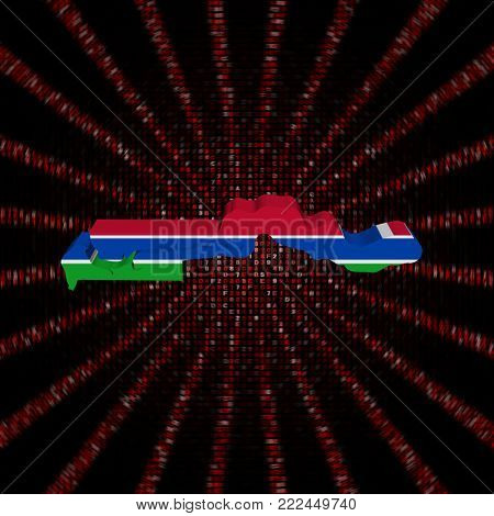 The Gambia map flag on red hex code burst 3d illustration