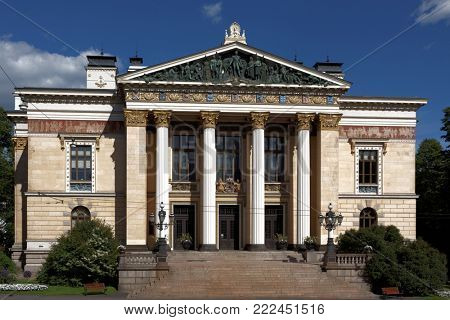 House of Estates in Helsinki, Finland. From 1891, when it was built, it housed the three commoner estates of the four estates of the realm of Finland, but now it houses sporadic governmental meetings