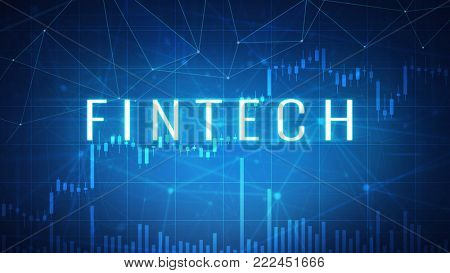 Fintech financial technology wording on futuristic hud background with cryptocurrency stock market chart and blockchain polygon peer to peer network. Global cryptocurrency business banner concept.