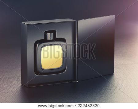 Black perfume bottle mockup with gold label into open package box. On black background. 3d render