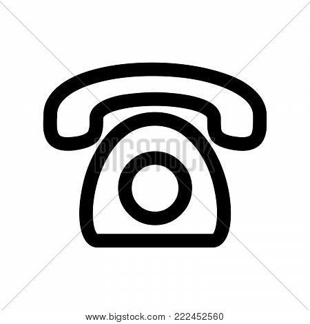 Old phone icon isolated on white background. Old phone icon modern symbol for graphic and web design. Old phone icon simple sign for logo, web, app, UI. Old phone icon flat vector illustration, EPS10.