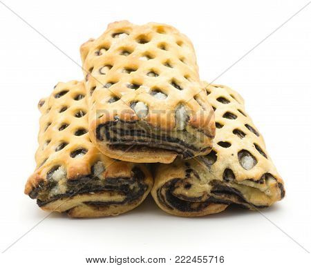 Three lattice breads set with coconut and chocolate inside isolated on white background fresh baked