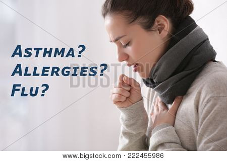 Young woman suffering from cough as symptom of asthma, allergies or flu on color background