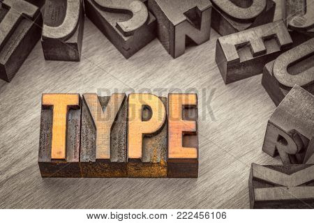 type word abstract in vintage letterpress wood type printing blocks, color combined with black and white image