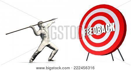 Aiming For Feedback with Bullseye Target on White 3D Render