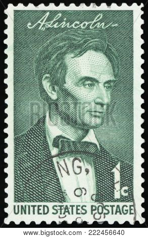 UNITED STATES - CIRCA 1958: stamp printed by United states, shows Lincoln, circa 1958