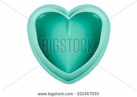 Blue heart shape silicone mold for baking cakes