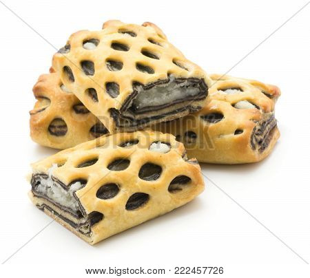 Lattice bread set with coconut and chocolate mousse isolated on white background fresh baked