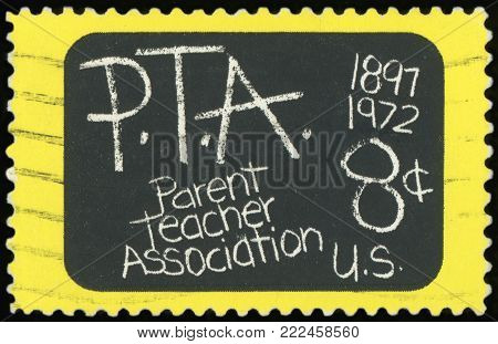 UNITED STATES - CIRCA 1972: a postage stamp printed in United States showing an image commemorative of the 75th anniversary of the Parent Teacher Association, circa 1972.