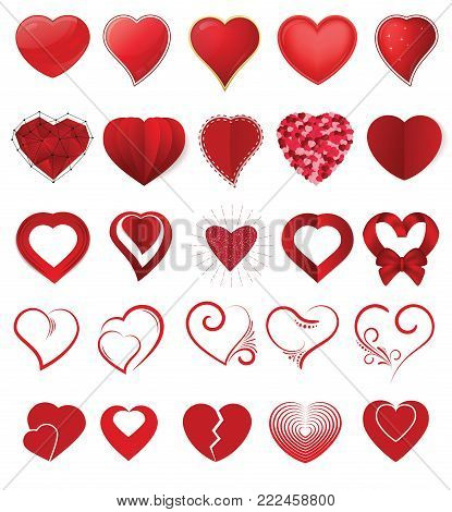 Heart on valentines day in love vector lovely red sign on hearted celebration and greeting card with loving and heartiness set illustration isolated on white background.