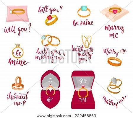 Wedding rings vector marriage proposal merry me text or wed lettering married me and textual calligraphy for bridal celebration invitation or card isolated on white background illustration.