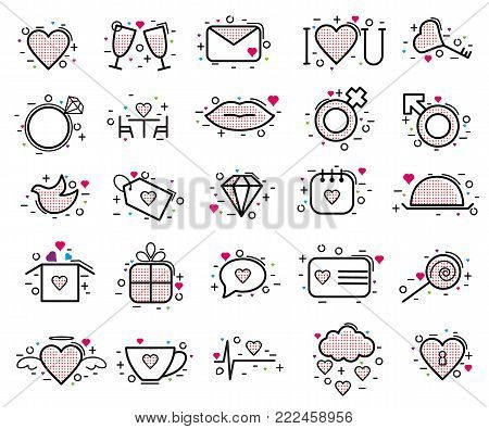 Valentines day icons vector heart in love and lovely red sign on hearted celebration and greeting card with loving and heartiness set illustration isolated on white background.