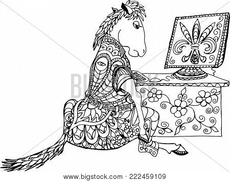 Horse sitting at the table with computer. Allegory hard work.Freehand sketch drawing for adult antistress coloring book