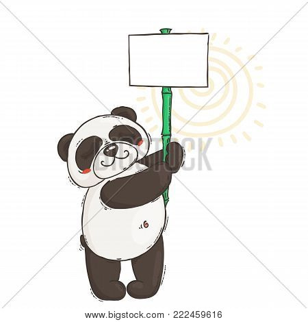 Cute panda with a poster on a bamboo stick. Wildlife, ecology, peace and friendship. Vector illustration.