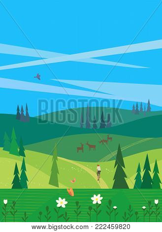 Green valley landscape. Colorful cartoon nature scene. Summer season active weekend vacation outside city. Country road on meadows. Wildlife in woodland. Vector countryside background illustration