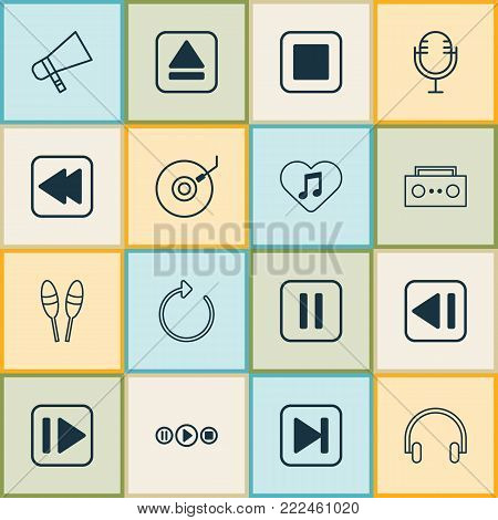 Audio icons set with bullhorn, headset, broadcast and other reload elements. Isolated vector illustration audio icons.