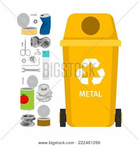 Yellow garbage can with metal garbage elements, vector illustration