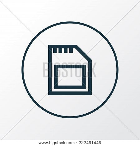 Sd card icon line symbol. Premium quality isolated memory element in trendy style.