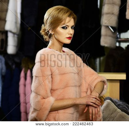 Lady Tries Expensive Pink Mink Overcoat On