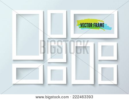 Realistic picture frames set. Realistic vector illustration